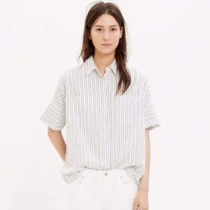 Madewell Courier Shirt Blue + White Striped